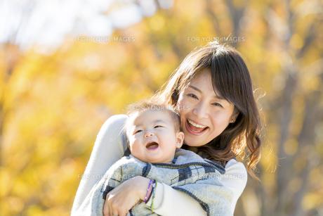 秋の公園で息子を抱く母親の素材 [FYI01075132]