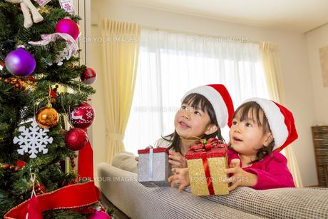 クリスマスツリーを飾って遊ぶ姉妹の素材 [FYI01075167]