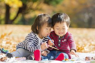 秋の公園でお昼を食べる男の子と女の子の素材 [FYI01075173]