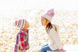 秋の公園で遊ぶ姉と弟の素材 [FYI01075174]