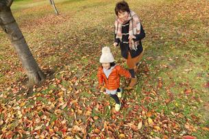秋の公園で遊ぶ母と娘の素材 [FYI01075259]