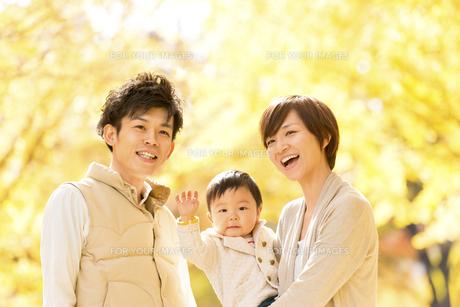 秋の公園で遊ぶ親子の素材 [FYI01075262]
