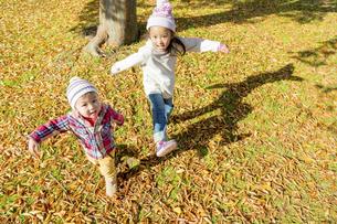 秋の公園を走る姉と弟の素材 [FYI01075289]