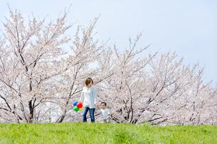 桜の咲く土手を歩く母と息子の素材 [FYI01075346]