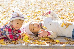 秋の公園で遊ぶ姉と弟の素材 [FYI01075347]