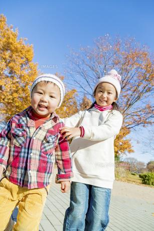 秋の公園で遊ぶ姉と弟の素材 [FYI01075352]