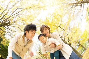 秋の公園で遊ぶ親子の素材 [FYI01075370]