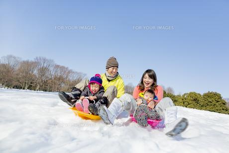 雪の公園でソリ遊びをする4人家族の素材 [FYI01075460]