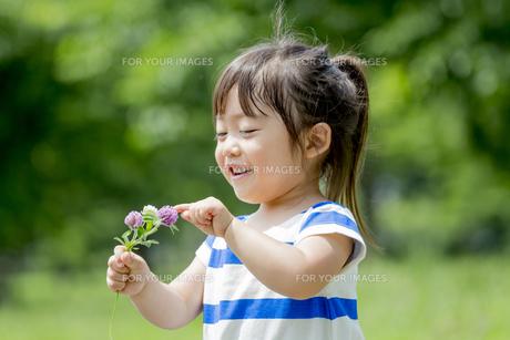 公園で、手に持った花を見て笑う女の子の素材 [FYI01075478]
