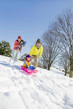 雪の公園でソリ遊びをする4人家族の素材 [FYI01075495]