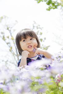 公園で笑う女の子の素材 [FYI01075515]