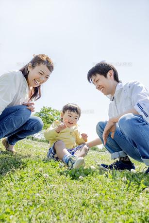 公園で遊ぶ家族の素材 [FYI01075521]