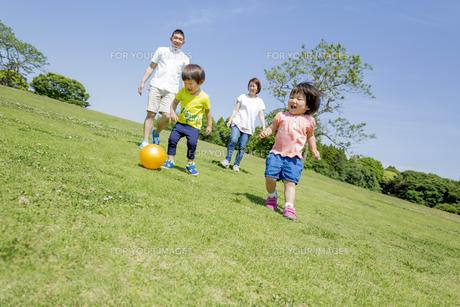 新緑の公園で遊ぶ4人家族の素材 [FYI01075558]