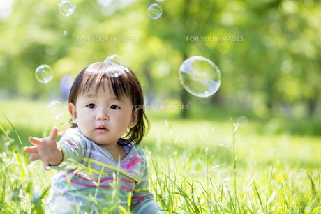 公園でシャボン玉を追う女の子の素材 [FYI01075564]