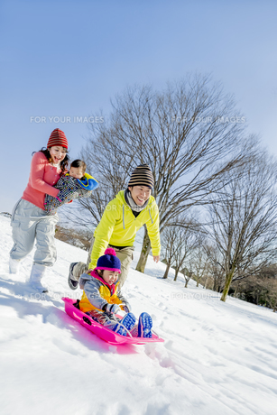 雪の公園でソリ遊びをする4人家族の素材 [FYI01075592]
