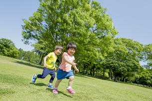 新緑の公園で遊ぶ兄と妹の素材 [FYI01075629]