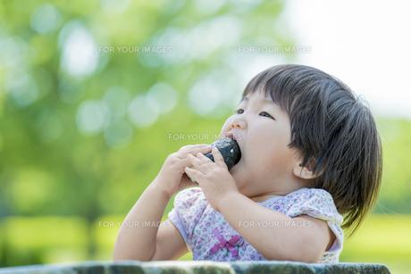 新緑の公園でおにぎりを食べる女の子の素材 [FYI01075633]
