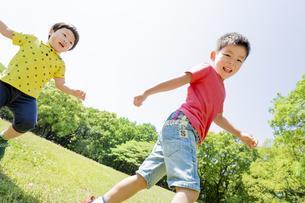 新緑の公園を歩く兄弟の素材 [FYI01075652]