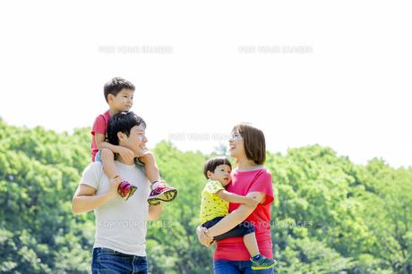 新緑の公園を歩く4人家族の素材 [FYI01075665]