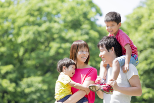 新緑の公園を歩く4人家族の素材 [FYI01075679]