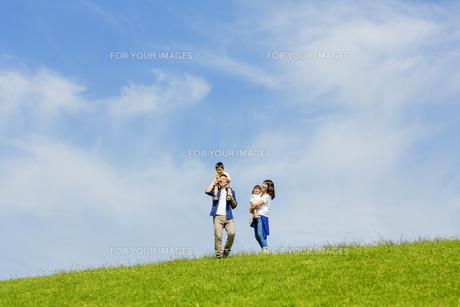 公園で遊ぶ4人家族の素材 [FYI01075743]