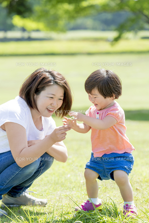 新緑の公園で花を持つ母親と娘の素材 [FYI01075764]