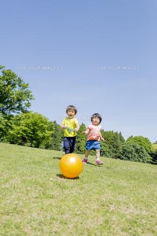 新緑の公園でボールで遊ぶ兄と妹の素材 [FYI01075767]