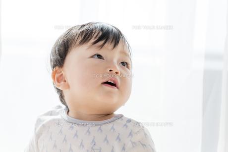 リビングで見つめる赤ちゃんの素材 [FYI01075801]