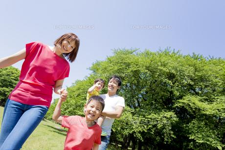 新緑の公園を歩く4人家族の素材 [FYI01075803]