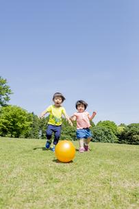 新緑の公園でボールで遊ぶ兄と妹の素材 [FYI01075827]