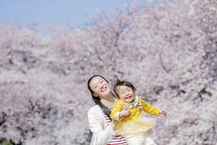 桜の咲く公園で遊ぶ母親と娘の素材 [FYI01075828]