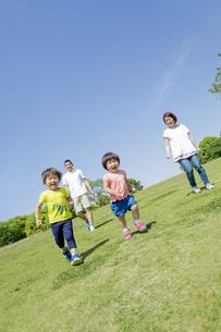 新緑の公園を走る4人家族の素材 [FYI01075885]