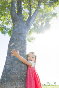 公園で木に抱きつく女の子の素材 [FYI01076046]