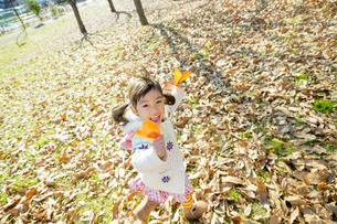 落葉の公園を葉っぱを持って走る女の子の素材 [FYI01076063]