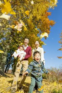 紅葉の公園で遊ぶ人家族の素材 [FYI01076083]