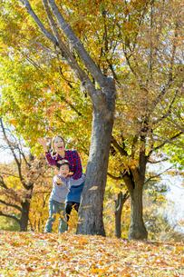 紅葉の公園で遊ぶ母親と息子の素材 [FYI01076089]