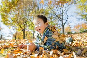 落葉の公園で遊ぶ男の子の素材 [FYI01076109]