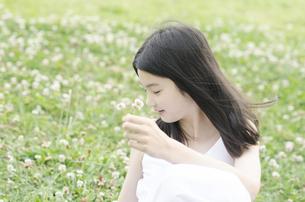 シロツメクサの上に座った横顔の少女の素材 [FYI01076679]