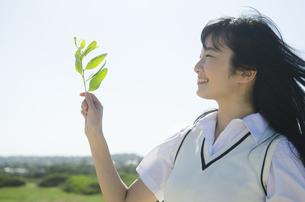 笑顔で葉っぱを持っている制服姿の女の子の素材 [FYI01077204]