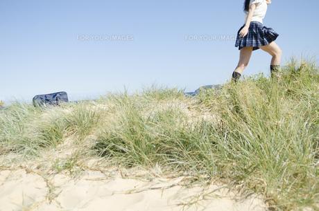 草むらに置かれたカバンと制服姿の女の子の素材 [FYI01077211]