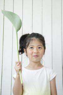 葉っぱを持った女の子の素材 [FYI01077238]