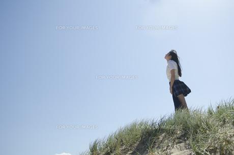 草むらに立って空を見上げている制服姿の女の子の素材 [FYI01077241]