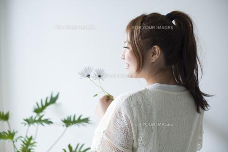 白いデイジーを持って笑う女性の素材 [FYI01077289]