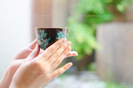 お茶の入った湯のみを持つ着物姿の女性の手の素材 [FYI01077383]