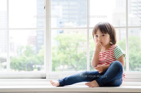 窓に座っている男の子の素材 [FYI01077636]