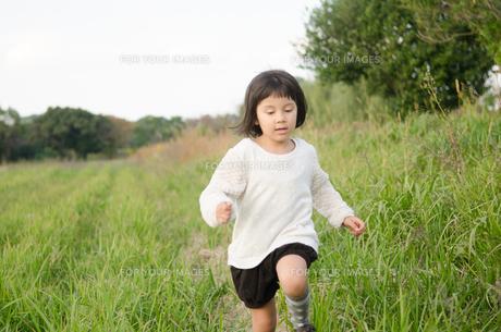 草むらで走る女の子の素材 [FYI01077915]
