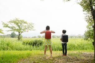 ランドセルを背負って遠くを見ている子供たちの素材 [FYI01077977]