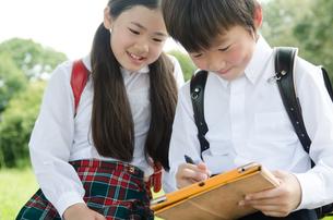 タブレットで勉強をしている小学生2人の素材 [FYI01078018]