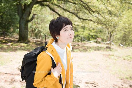 山道を歩きながら見上げている女性の素材 [FYI01078366]