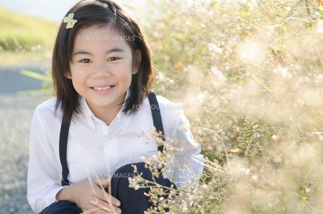 笑っている小学生の女の子の素材 [FYI01078371]